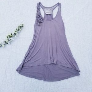 Lush Stretch Detailed Lace Racer Back Tank Top M